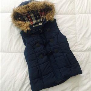 Navy Puffer Vest with Fur Hood